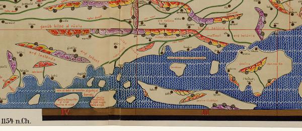 Pohjoismaita kuvaava Tabula Rogerianan osa (saksalainen faksimiili 1800-luvulta). Pohjoinen on kartassa alhaalla.